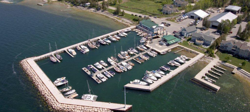 aerial view yacht works door county